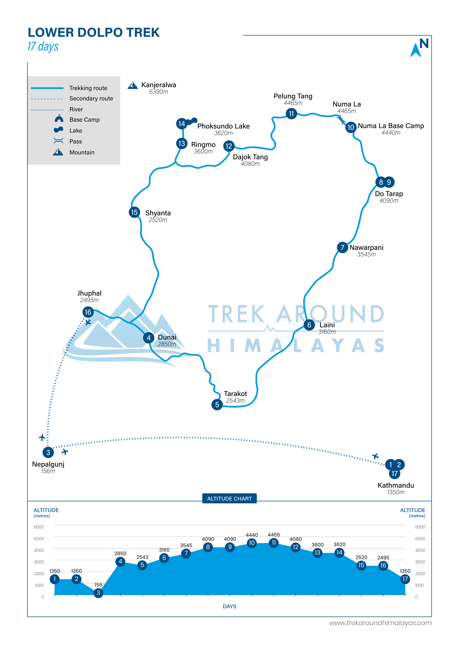 Route Map for Lower Dolpo Trek | Adventure Altitude